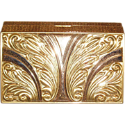 Vintage Multi Tone Gold Plated Evans Minaudiere Dance Compact
