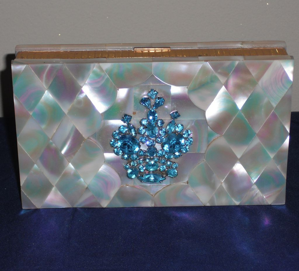 Vintage Evans Mother of Pearl Minaudiere Dance Compact with Aqua Rhinestones