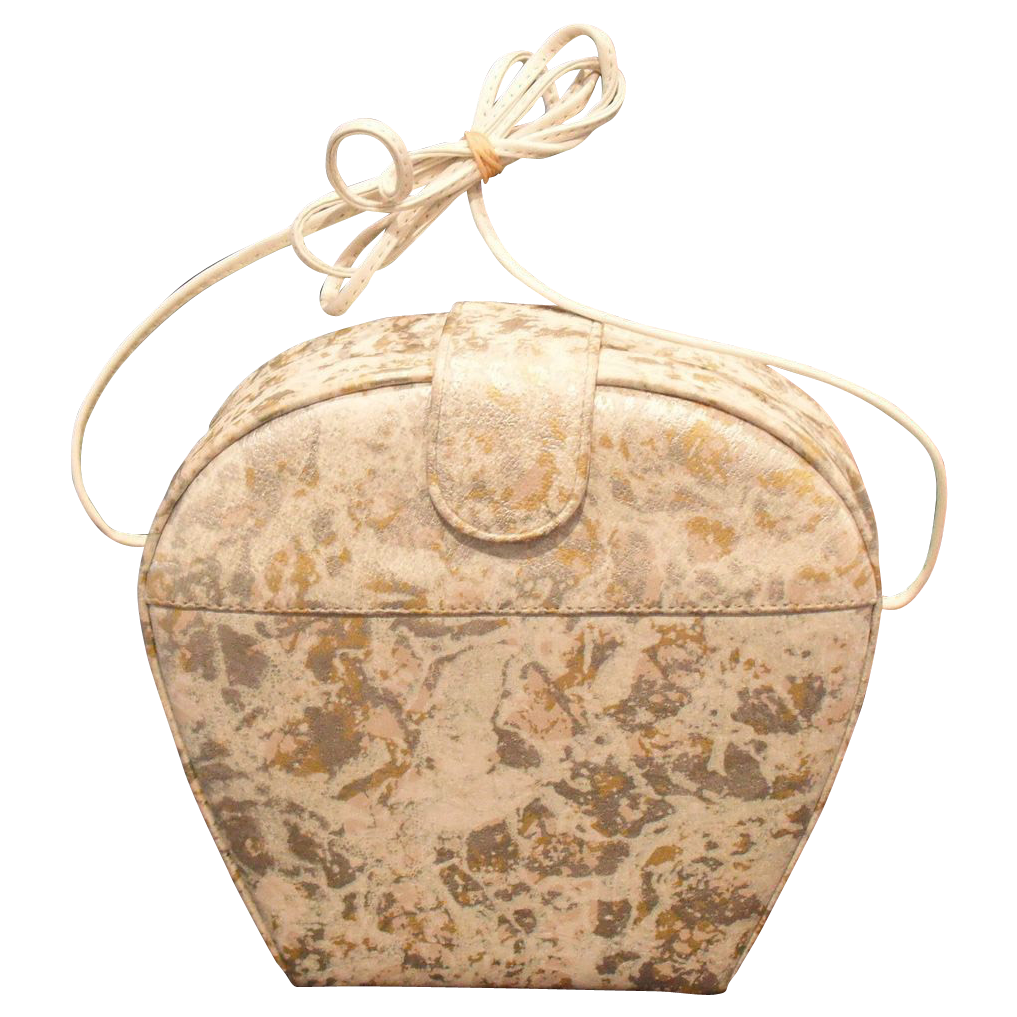 Vintage Clam Shell Style Purse in Gold Silver White by MUSI