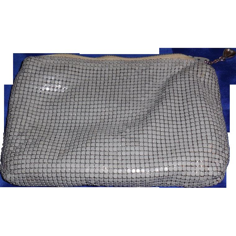 Vintage Whiting and Davis Grey Metal Mesh Cosmetic Bag