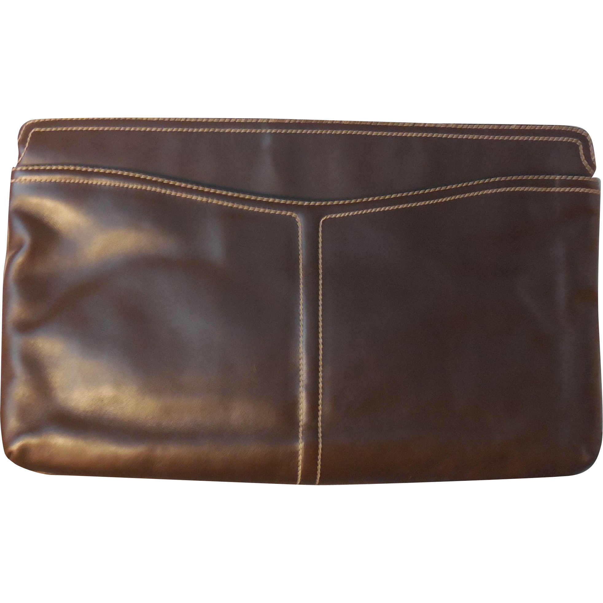 Large Vintage Morris Moskowitz Dark Brown Leather Handbag Purse Clutch