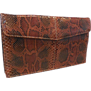 Vintage New Unused Clutch Handbag Purse in Rust, Brown, Black Python Snakeskin.