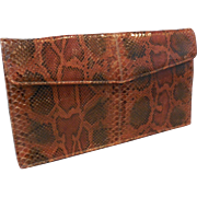 Vintage New Unused Clutch Handbag Purse in Rust Brown Black Python Snakeskin.