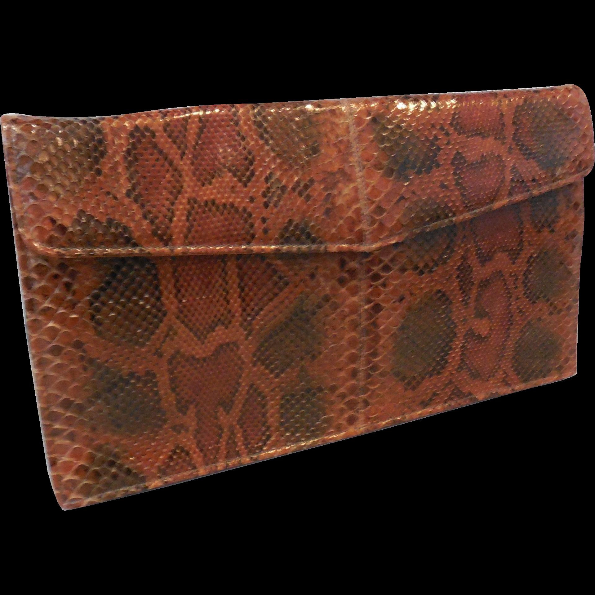 Vintage New Unused Clutch Handbag Purse in Rust Brown Black Python Snakeskin.