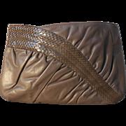 Vintage Morris Moskowitz Taupe Leather | Reptile Purse | Clutch | Shoulder Bag
