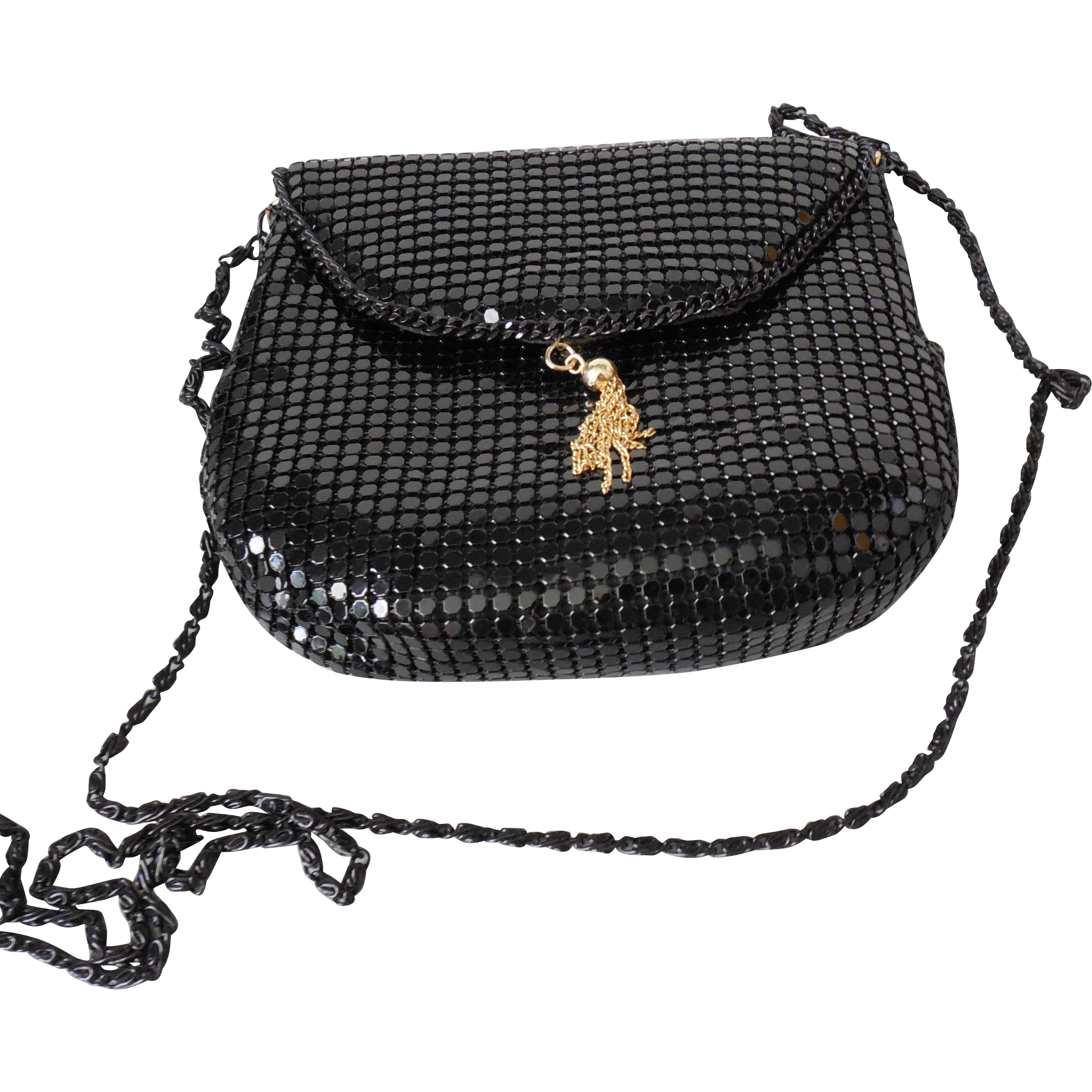 Vintage Black Metal Mesh Small Shoulder Bag Purse Clutch