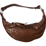 Vintage Bronze Metal Mesh Hobo Bag Top Zip Purse by Limited Too