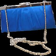 Vintage Teal Blue Satin Evening Purse