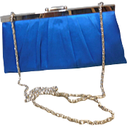 Vintage Teal Blue Satin Cache Evening Purse