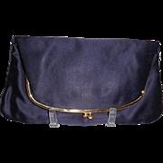 Vintage Coblentz Navy Satin Clutch Purse Evening Bag