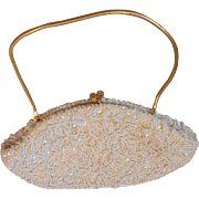 Oval Shaped White Beaded and Beige Sequin Vintage Evening Bag with Gold Chain