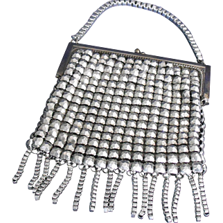 Whiting Davis Purse Silver Bubble Metal Mesh with Fringe