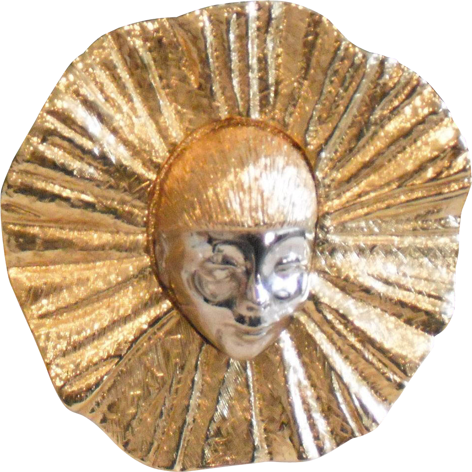 Vintage Pierrot  Gold Silver Tone Belt Buckle by MUSI