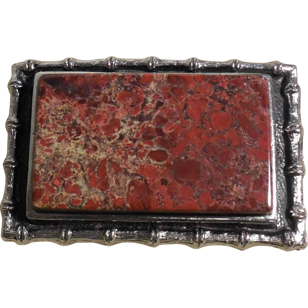 Vintage Red Leopard Jasper Belt Buckle set in Silver Metal