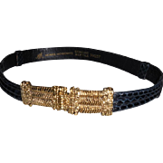 Vintage Morris Moskowitz Woman's Black Adjustable Reptile Belt