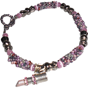 Artisan Pink Tweed Seed Bead Bracelet with Breast Cancer Charm