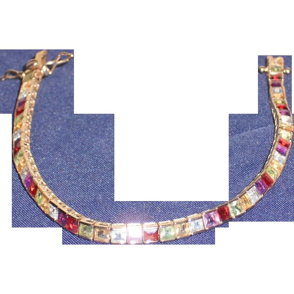 Vintage Vermeil Multi-Color Semi-Precious Bracelet