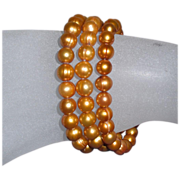 Vintage 3 Gold Dyed Fresh Water Pearl Slip-On Bracelets