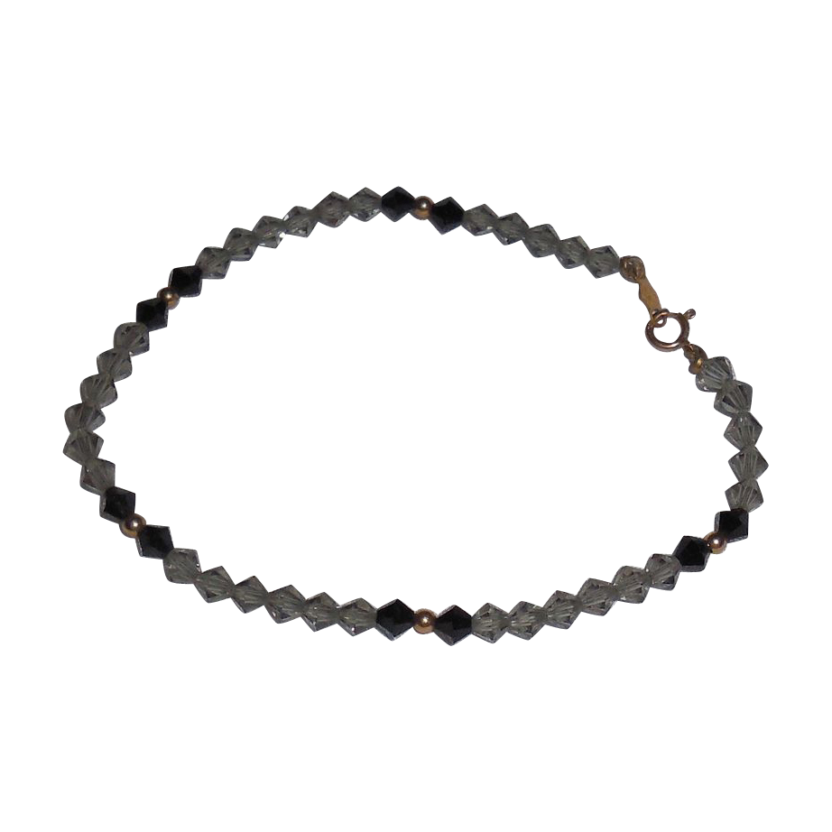 Vintage Pale Grey/Black Jet Swarovski Crystal and 14 K Yellow Gold Bracelet – 7.5""