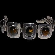 Vintage FineGem Modernist Sterling Bracelet with Tiger's Eye Cabochons 7 inches