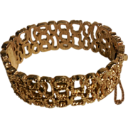 Vintage Crown Trifari Hinged Gold Plated Bangle Bracelet