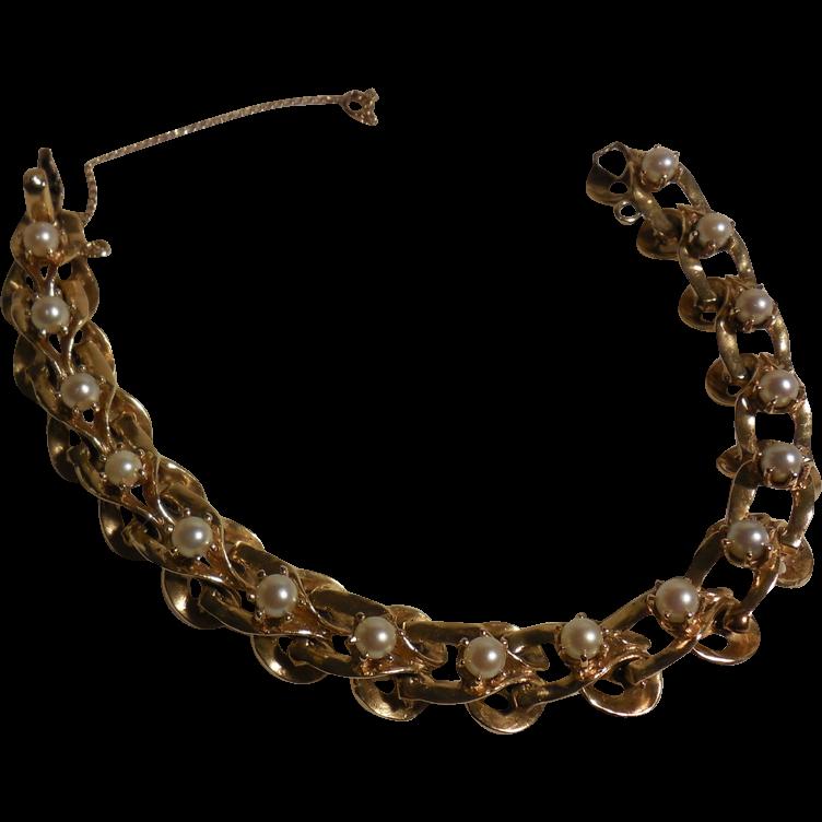 Vintage 14 Karat Yellow Gold and Cultured Pearl Bracelet