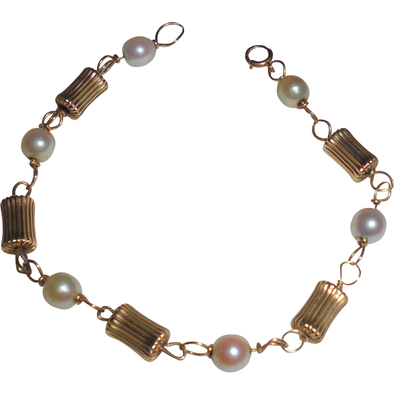Vintage Bamboo Style Pearl Bracelet - 14 Kt Yellow Gold 7 inches