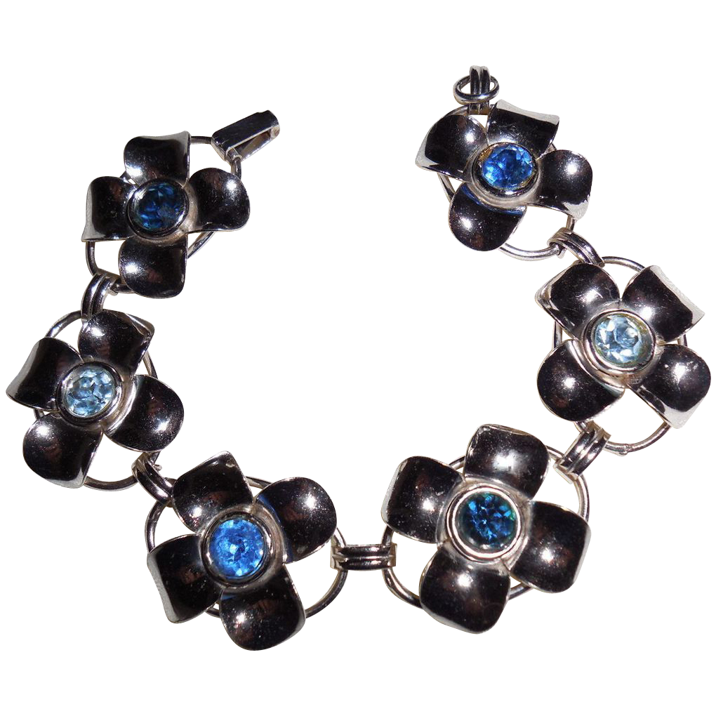 Vintage Boyd Sterling Flower Bracelet 7.25 inches