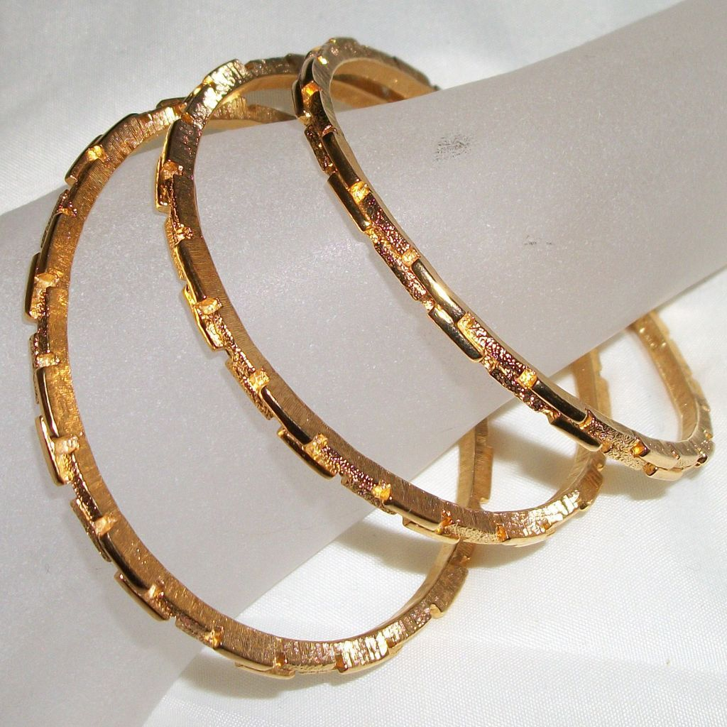 Vintage Crown Trifari  Gold Plated Three Bangle Bracelets with Interlocking Bricks