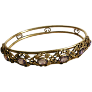 Vintage Brass Faux Amethyst Bangle Bracelet