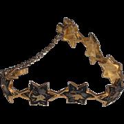Vintage Damascene Bracelet , Links like Star of David  7.25 inches