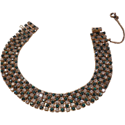 Vintage Les Bernard Prong Set Rhinestone Bracelet  8 inches