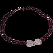 Vintage Rubellite Tourmaline Rose Quartz Hearts Bracelet  7.75 inches