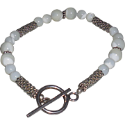 Artisan White Mother of Pearl and Silver Bracelet