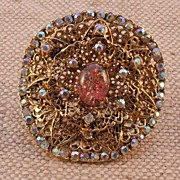 Vintage Belt Buckle with Austrian Crystal Rhinestones and Faux Opal by MUSI