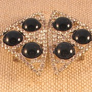 Vintage Rhinestone Belt Buckle with Black Stones by MUSI