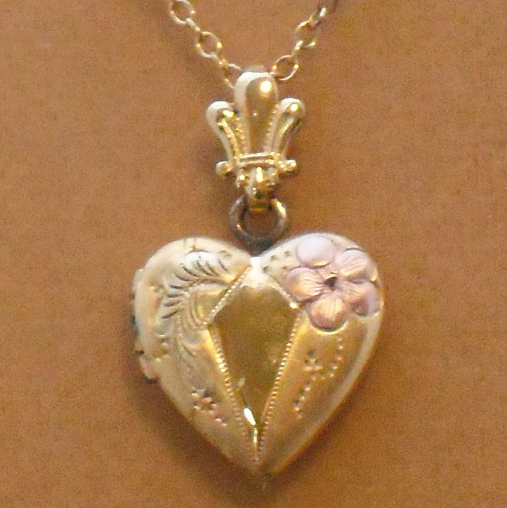 Vintage Gold Filled Necklace with Gold Filled Heart Locket by Automade