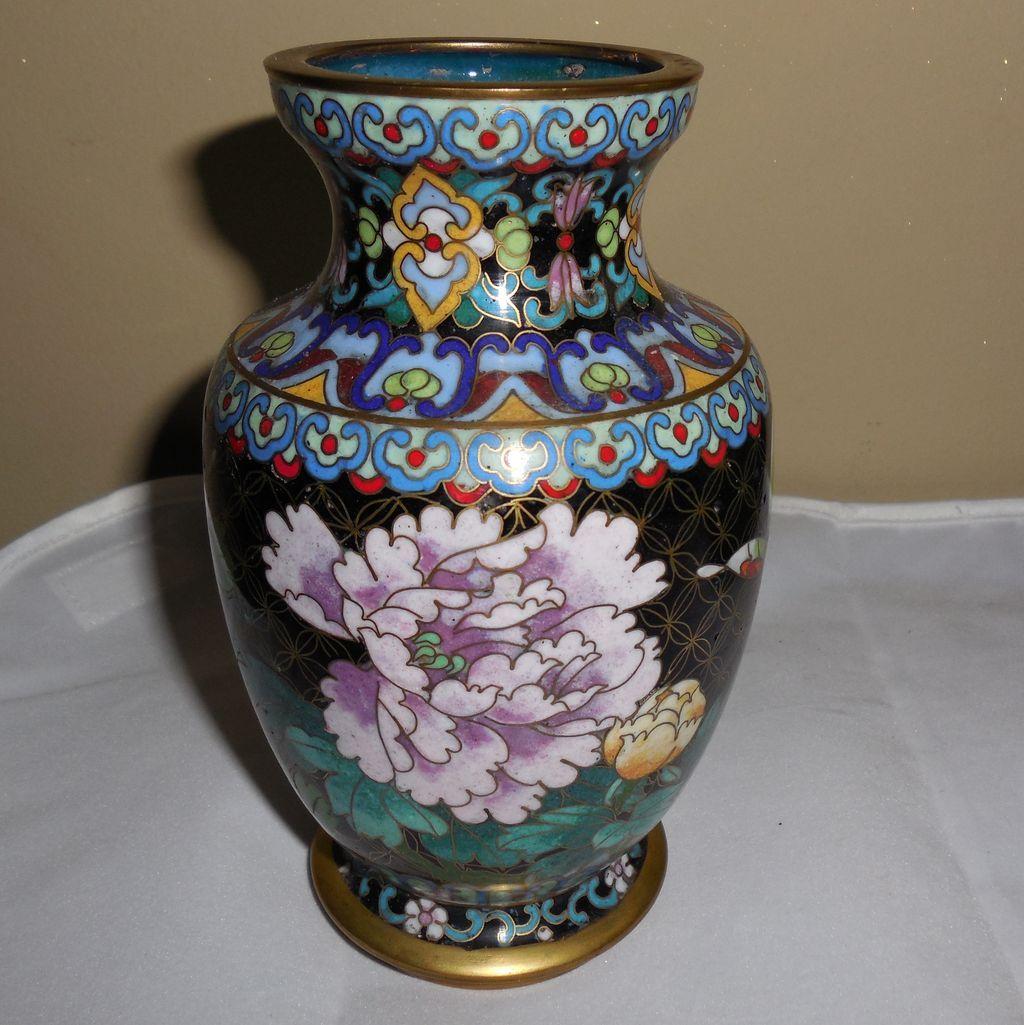 Vintage Small Black Cloisonné Vase