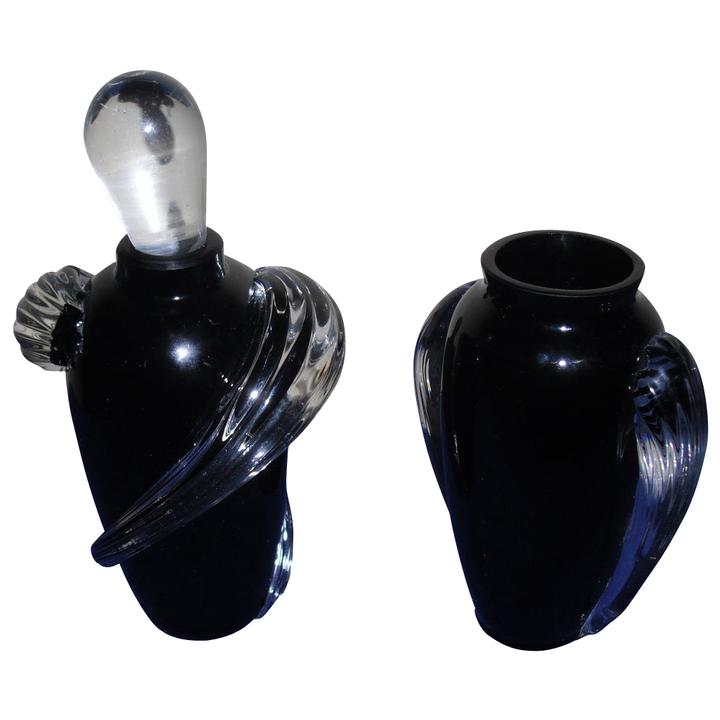 Twos Company Vintage Black Vase with matching Perfume Bottle Hand Blown Glass