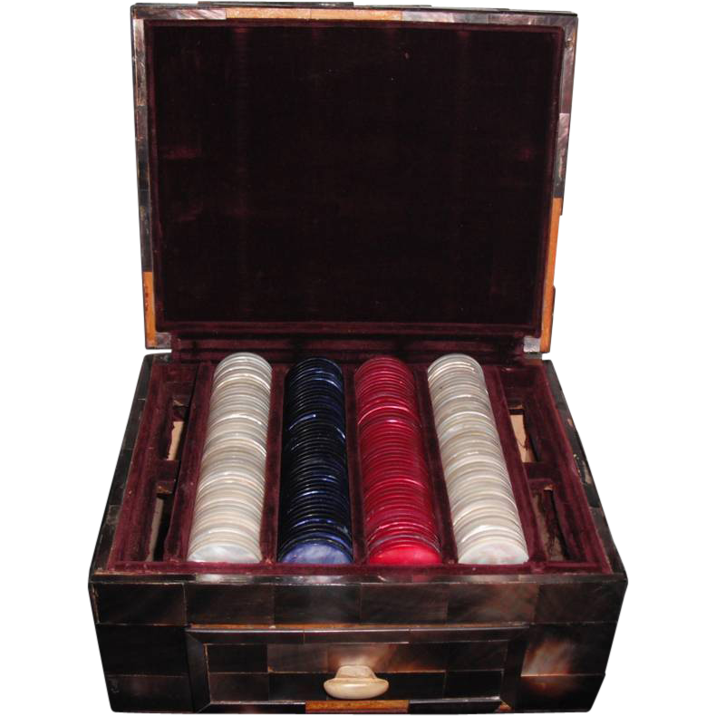 Vintage Mother of Pearl Poker Chips in Mother of Pearl Box