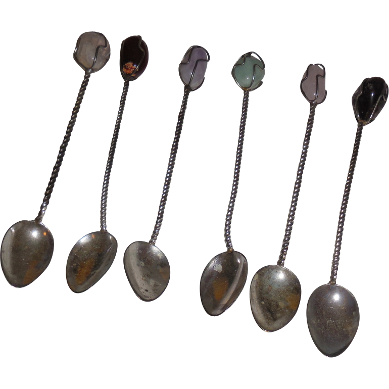 Vintage Semi-Precious Cocktail spoons (6)