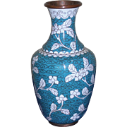 Vintage Cloisonné Vase Turquoise and White Small