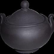 Vintage Wedgwood Black Basalt Covered Sugar Bowl