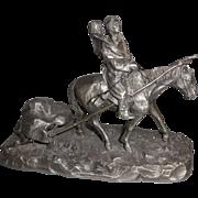 """Philip Kraczkowski  Vintage Pewter Statue  """"Where Buffalos Go"""""""