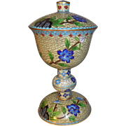 Vintage Footed Cloisonné Urn with Lid