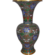Vintage Cloisonné Champleve Vase – 10.5 inches tall