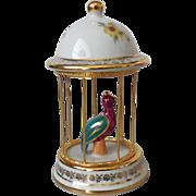 Vintage Limoges Porcelain Bird in Cage Teal & Burgundy Ornament Figure – France