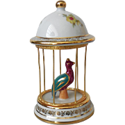 Vintage Limoges Porcelain Bird in Cage Teal & Burgundy Ornament Figure – France