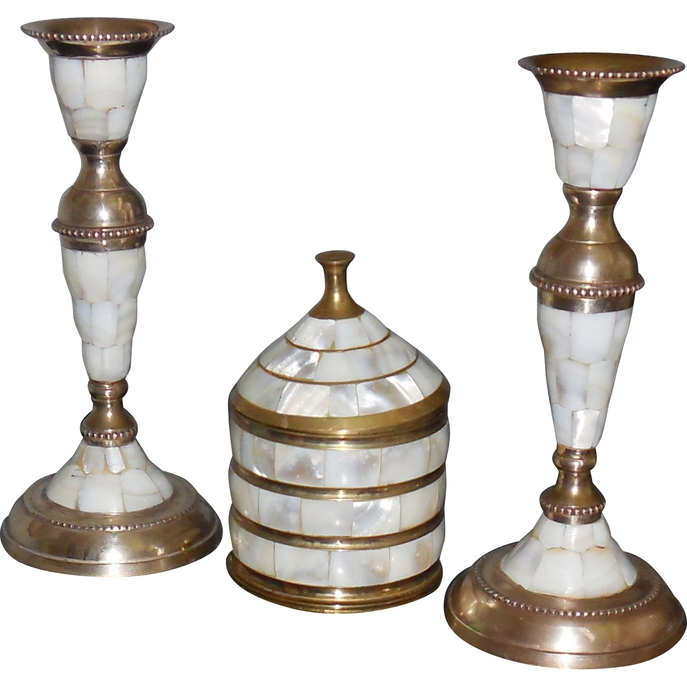 Brass and Mother of Pearl Candlesticks and Trinket Case