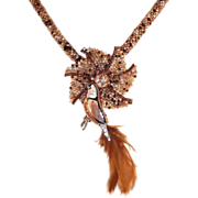 Handmade Brown Tweed Necklace with Bird Pin